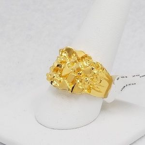 Other - 14k Gold Plated Sterling Nugget Ring Mens Sz 10.5